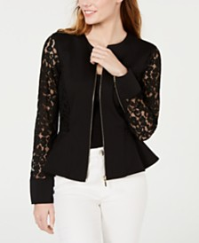 XOXO Juniors' Zip-Front Lace Peplum Jacket