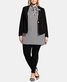 City Chic Plus Size Stitch-Detail Jacket