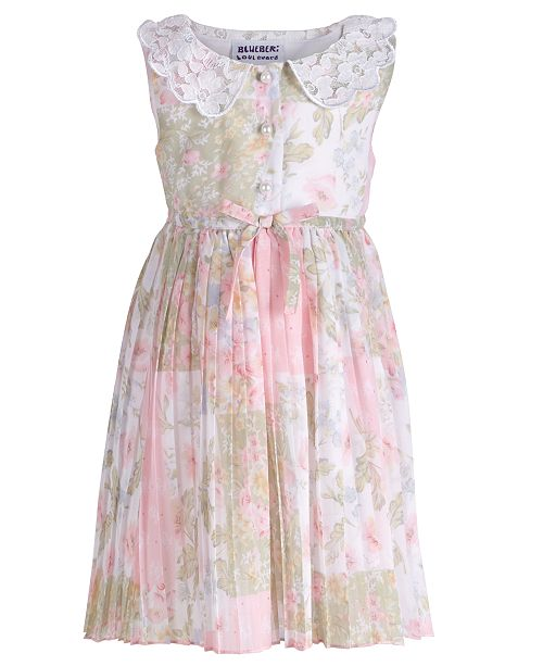 Blueberi Boulevard Baby Girls Floral-Print Pleated Dress