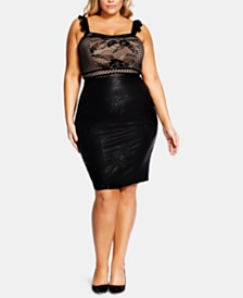 City Chic Trendy Plus Size Embroidered Faux-Leather Skirt