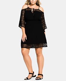 City Chic Trendy Plus Size Crochet-Trim Tunic Coverup
