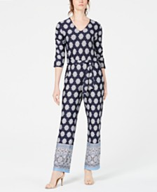 cd9630f52896e NY Collection Petite Border-Print Belted Jumpsuit
