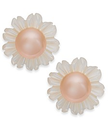 Pink Cultured Button Freshwater Pearl (6mm) & White Mother-of-Pearl (12mm) Stud Earrings in Sterling Silver