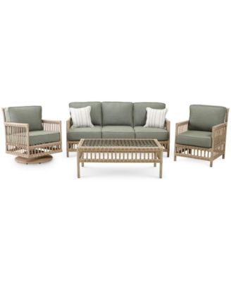 Lavena Outdoor 4-Pc. Seating Set (1 Sofa, 1 Club Chair, 1 Swivel Chair & 1 Coffee Table) with Sunbrella® Cushions, Created for Macy's