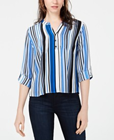 NY Collection Petite Striped Roll-Tab Shirt