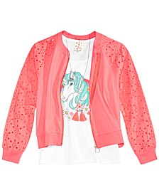 Big Girls 3-Pc. Floral-Print Bomber Jacket, Tank Top & Necklace Set
