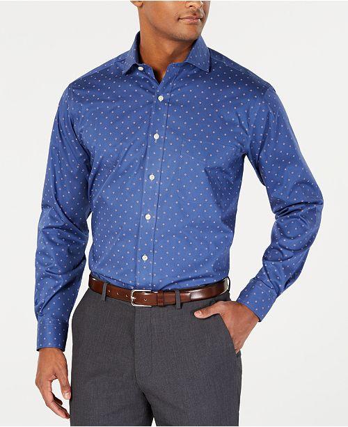 Club Room Men's Classic/Regular Fit Stretch Pine Print Dress Shirt, Created for Macy's
