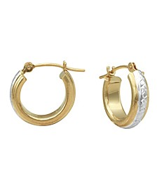 """Two-Tone Diamond-Cut Hoop Earrings in 18k Yellow and White Gold 1/2"""""""