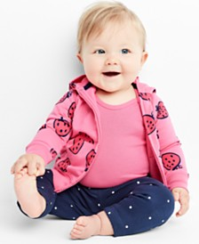 Carter's Baby Girls 3-Pc. Strawberry-Print Cotton Hoodie, Bodysuit & Pants Set