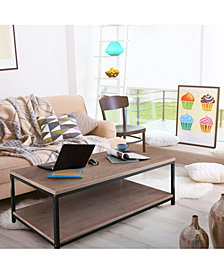 Studio Coffee Table with Solid Red Oak Top and Shelf