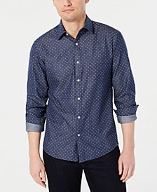 Michael Kors Men's Slim-Fit Dot-Print Chambray Shirt