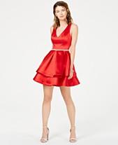 ffb91eb5e B Darlin Juniors' Rhinestone-Belt Fit & Flare Dress