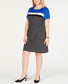 Plus Size Short-Sleeve Striped Dress, Created for Macy's