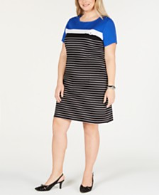 Karen Scott Plus Size Short-Sleeve Striped Dress, Created for Macy's
