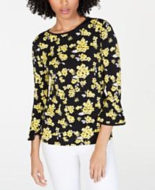 MICHAEL Michael Kors Floral-Print Bell-Sleeve Top, Regular & Petite