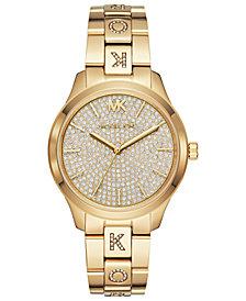Michael Kors Women's Runway Gold-Tone Stainless Steel & Crystal-Accent Bracelet Watch 38mm