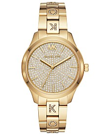 Michael Kors Women's Runway Gold-Tone Stainless Steel & Crystal-Accent Bracelet Watch 38mm