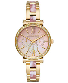 Michael Kors Women's Sofie Gold-Tone Stainless Steel & Pink Acetate Bracelet Watch 36mm