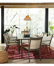 CLOSEOUT! Rialto Outdoor Aluminum 7-Pc. Dining Set (Extension Dining Table And 6 Slat Back Dining Chairs), Created For Macy's