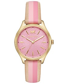 Michael Kors Women's Lexington Brown & Pink Leather Strap Watch 36mm