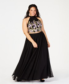 City Studios Trendy Plus Size 2-Pc. Sparkle Embroidered Gown
