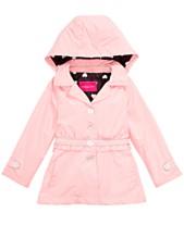 bfe939375bbe36 London Fog Big Girls Hooded Ruffle-Waist Trench Coat