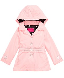 London Fog Big Girls Hooded Ruffle-Waist Trench Coat