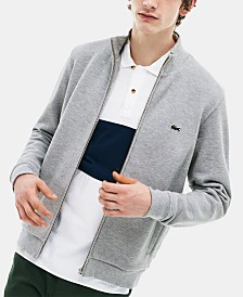 Lacoste Brushed Pique Fleece Sweatshirt with Full Zip and Side Pockets