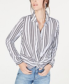 INC Twist-Front Button-Up Shirt, Created for Macy's