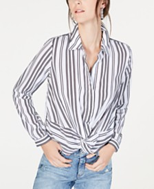 I.N.C. Petite Twist-Front Button-Up Shirt, Created for Macy's