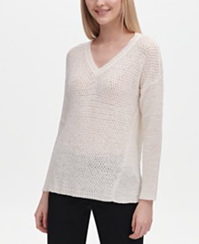 Calvin Klein V-Neck Open-Stitch Sweater