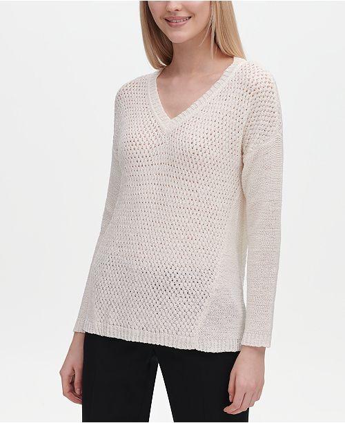 Calvin Klein V-Neck Open-Stitch Sweater