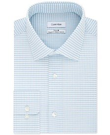 Calvin Klein Men's STEEL Classic/Regular Fit Non-Iron Performance Stretch Blue Check Dress Shirt