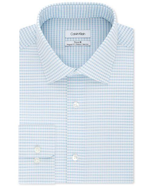 Calvin Klein Calvin Klein Men's STEEL Classic/Regular Fit Non-Iron Performance Stretch Blue Check Dress Shirt