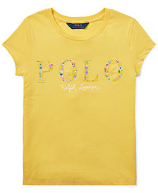 Polo Ralph Lauren Big Girls Floral-Logo Cotton T-Shirt