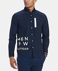 Tommy Hilfiger Men's Darcy Custom-Fit Logo-Print Poplin Shirt