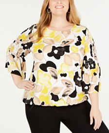 Alfani Plus Size Printed Smock-Sleeve Top, Created for Macy's