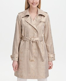 Calvin Klein Python-Print Belted Trench Coat