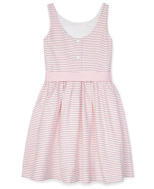 4db183ef8 Polo Ralph Lauren Big Girls Striped Fit & Flare Cotton Dress ...