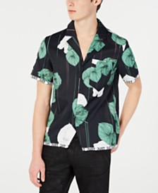 Just Cavalli Men's Slim-Fit Floral Hawaiian Shirt