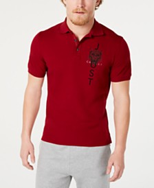 Just Cavalli Men's Regular-Fit Tiger Logo-Print Polo