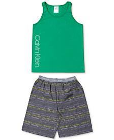 Calvin Klein Little & Big Boys 2-Pc. Plaid Pajama Set