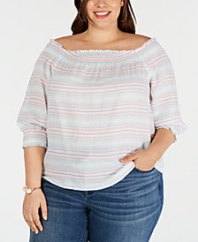 I.N.C. Plus Size Cotton Smocked Off-The-Shoulder Top, Created for Macy's