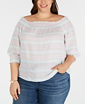 38bc7b5e82e I.N.C. Plus Size Cotton Smocked Off-The-Shoulder Top, Created for Macy's