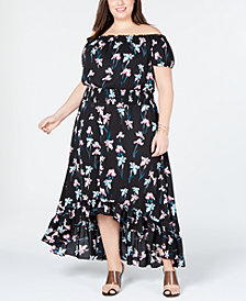 I.N.C. Plus Size Off-The-Shoulder High-Low Dress, Created for Macy's