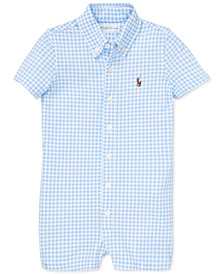 Polo Ralph Lauren Baby Boys Gingham Knit Oxford Cotton Shortall