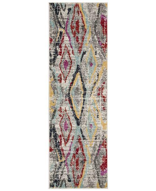 "Safavieh Adirondack Light Grey and Red 2'6"" x 8' Runner Area Rug"
