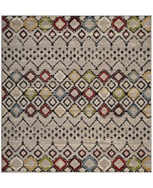 """Amsterdam Light Gray and Multi 6'7"""" x 6'7"""" Sisal Weave Square Area Rug"""