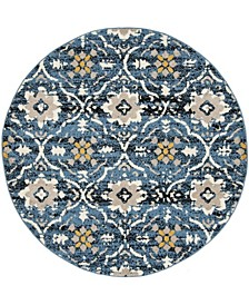 """Amsterdam Blue and Creme 6'7"""" x 6'7"""" Round Area Rug"""
