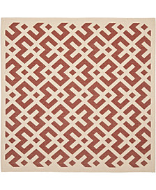 """Safavieh Courtyard Red and Bone 6'7"""" x 6'7"""" Square Area Rug"""